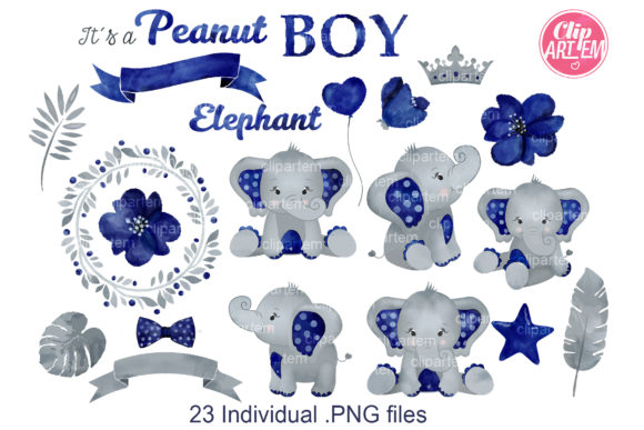 Print on Demand: Watercolor Navy Gray Boy Elephant Bundle Graphic Illustrations By clipArtem