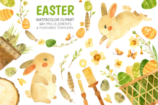 Print on Demand: Watercolor Clipart with Easter Bunny Graphic Illustrations By ValinMalin