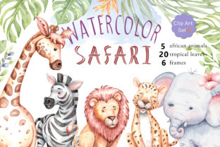 Print on Demand: Watercolor Safari Animals and Jungle Graphic Illustrations By SapG Art