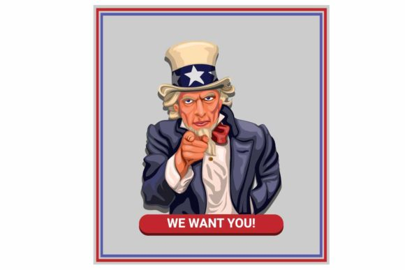 Print on Demand: We Want You! Slogan Uncle Sam Vector Graphic Illustrations By aryo.hadi
