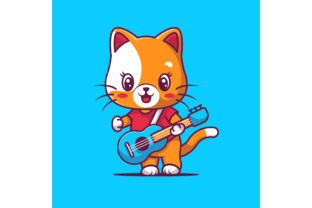 Cute Cat Playing Guitar Vector Graphic Illustrations By maniacvector