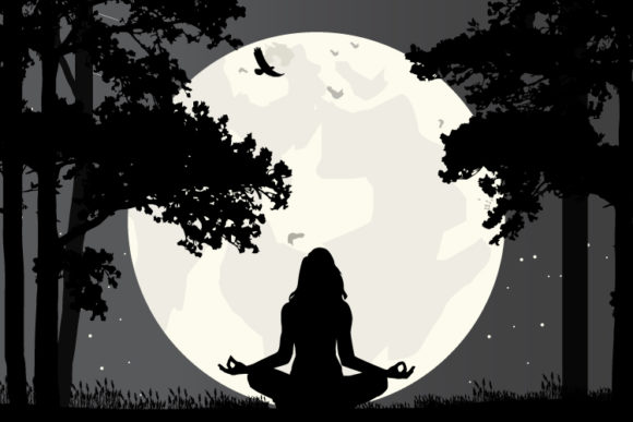 Print on Demand: Girl Yoga in the Forrest Silhouette Graphic Crafts By curutdesign