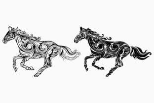 Horse with Floral Ornament Graphic Objects By etinurhayati0586