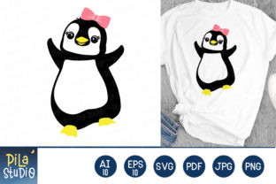 Penguin with Bow SVG Clip Art Graphic Illustrations By Pila Studio