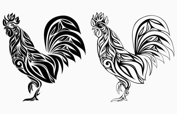 Rooster with Floral Ornament Graphic Objects By etinurhayati0586
