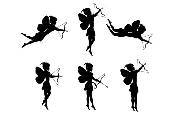 Print on Demand: Silhouette of Fairy with Arrow Graphic Illustrations By curutdesign