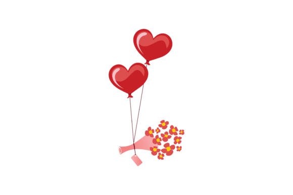 Print on Demand: Valentines Love Heart Baloon  Graphic Illustrations By Genta Illustration Studio