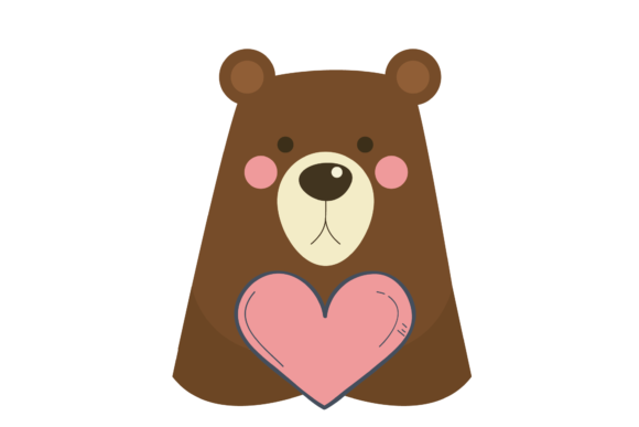 Print on Demand: Valentines Love Heart Bear Grafik Illustrationen von Genta Illustration Studio