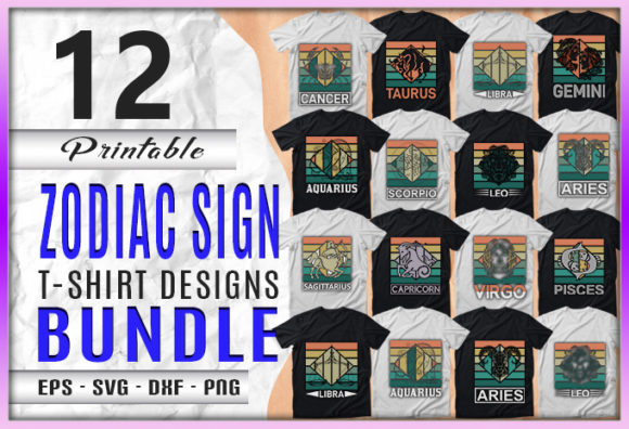Print on Demand: 12 Zodiac Sign Designs Bundle Graphic Print Templates By CraftStudio