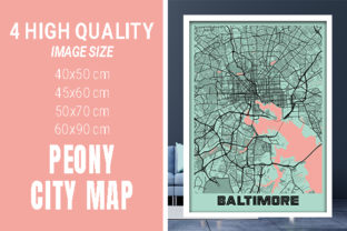 Baltimore - Maryland Peony City Map Graphic Photos By pacitymap
