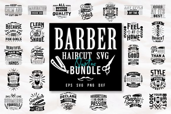 Print on Demand: Barber Haircut Quotes SVG Bundle Graphic Print Templates By Universtock