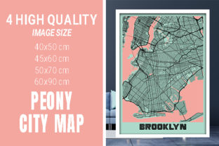 Brooklyn - United States Peony City Map Graphic Photos By pacitymap