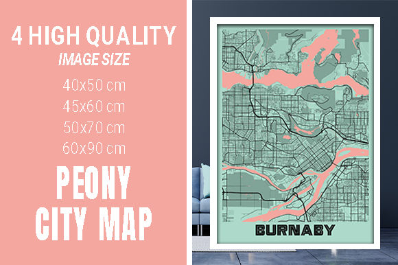 Burnaby - Canada Peony City Map Graphic Photos By pacitymap