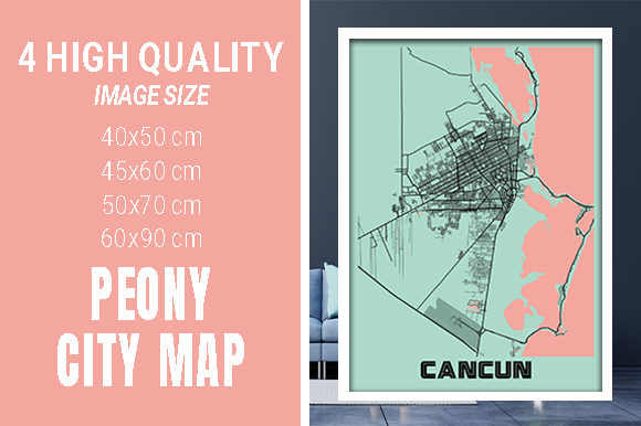 Cancun - Mexico Peony City Map Graphic Photos By pacitymap