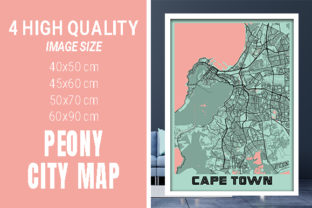 Cape Town - South Africa Peony City Map Graphic Photos By pacitymap