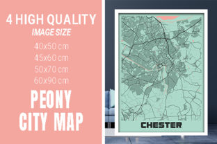 Chester - United Kingdom Peony City Map Graphic Photos By pacitymap