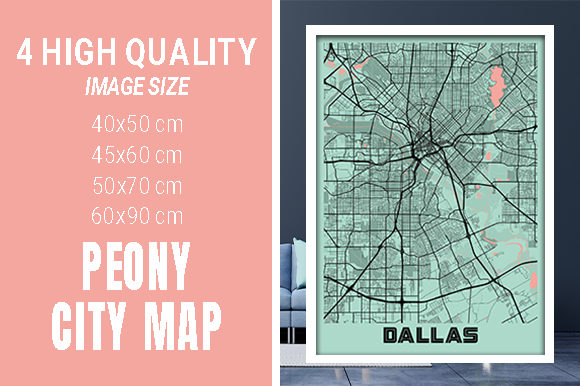 Dallas - United States Peony City Map Graphic Photos By pacitymap