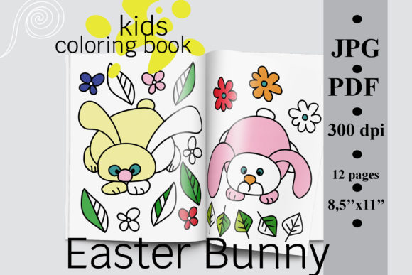 Easter Bunny Kids Coloring Book Graphic Coloring Pages & Books Kids By SunnyColoring