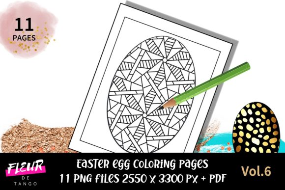 Easter Egg Coloring Pages Vol 6 Grafik Von Fleur De Tango Creative Fabrica