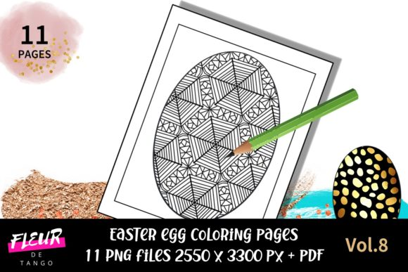 Print on Demand: Easter Egg Coloring Pages Vol.8 Graphic Coloring Pages & Books By Fleur de Tango