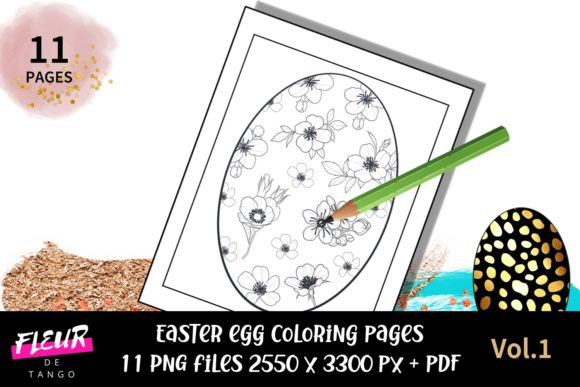 Print on Demand: Easter Egg Coloring Pages Graphic Coloring Pages & Books Adults By Fleur de Tango