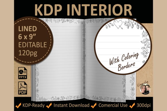 Floral Lined Coloring Interior Template Graphic KDP Interiors By KermeliaDesigns