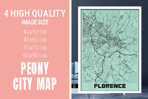 Florence - Italy Peony City Map Graphic Photos By pacitymap
