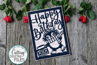 Funny Penguin Birthday Card Svg Cut Gráfico Crafts Por Cornelia