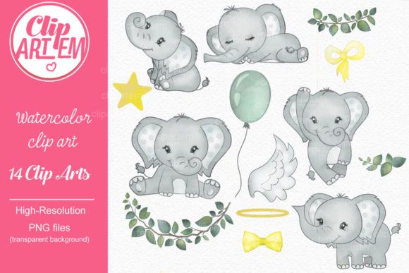 Print on Demand: Gender Neutral Elephant Clip Art Bundle Graphic Illustrations By clipArtem