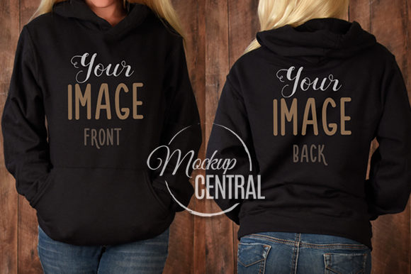 Girl in Black Hoodie Sweatshirt Mockup Graphic Product Mockups By Mockup Central