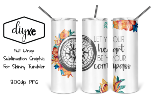 Heart Compass - Sublimation Tumbler Graphic Illustrations By Sheryl Holst