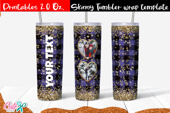 Heart Frame 20 Oz. Skinny Tumbler Wrap Graphic Print Templates By Cute files