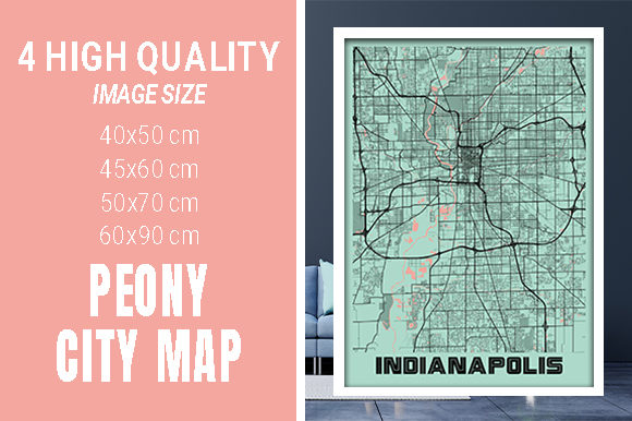Indianapolis - Indiana Peony City Map Graphic Photos By pacitymap