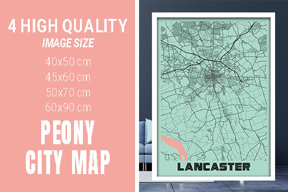 Lancaster - United States Peony City Map Graphic Photos By pacitymap
