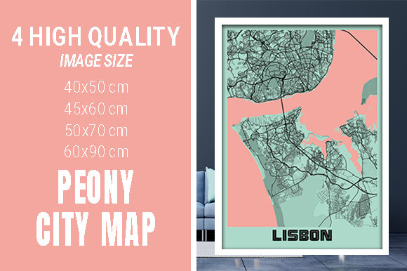 Lisbon - Portugal Peony City Map Graphic Photos By pacitymap