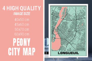 Longueuil - Canada Peony City Map Graphic Photos By pacitymap