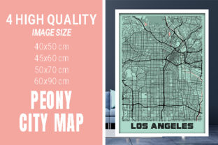 Los Angeles - Califonia Peony City Map Graphic Photos By pacitymap