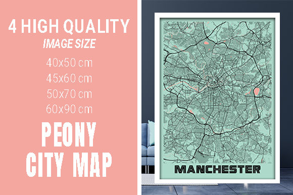 Manchester - United Kingdom Peony City Graphic Photos By pacitymap