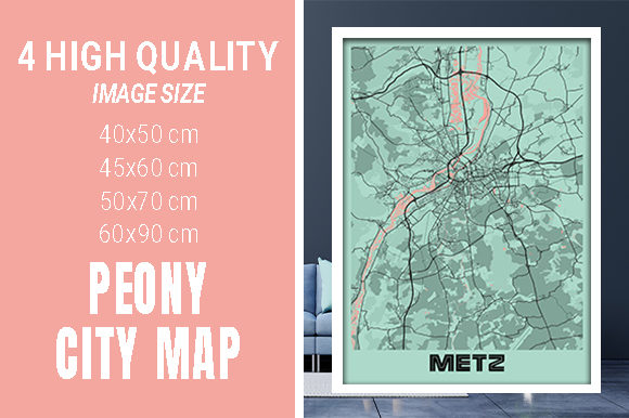 Metz - France Peony City Map Graphic Photos By pacitymap