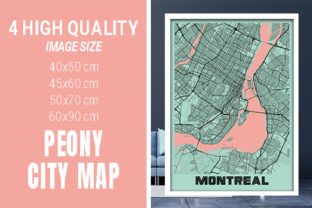 Montreal - Canada Peony City Map Graphic Photos By pacitymap