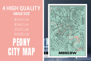 Moscow - Russia Peony City Map Graphic Photos By pacitymap