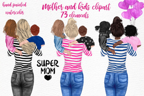 Print on Demand: Mother and Children Mother's Day Graphic Illustrations By LeCoqDesign