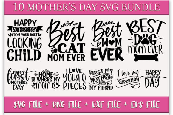 Free It includes everything you need to make cutting crafts and gifts for spring, easter, mother's day and even st. Mother S Day Svg Bundle Mom Quotes Svg Graphic By Printablesvg Creative Fabrica SVG, PNG, EPS, DXF File