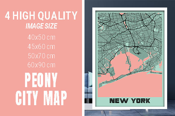 New York - United States Peony City Map Graphic Photos By pacitymap