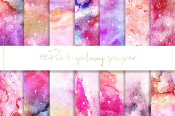 Print on Demand: Pink Galaxy Pattern Paper Graphic Patterns By beracaink