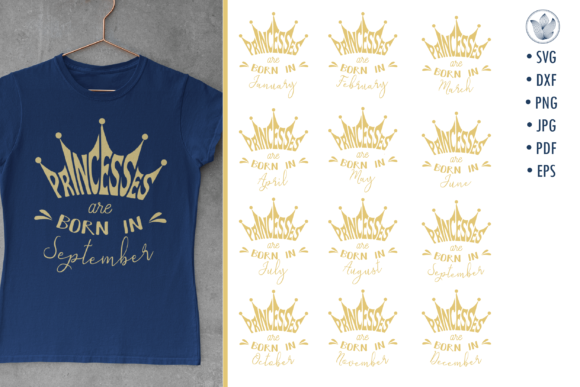 Print on Demand: Princesses Are Born in, Svg Cut Files Graphic Crafts By PrettyDD