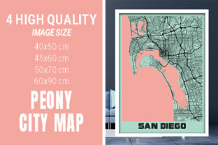 San Diego - United States Peony City Map Graphic Photos By pacitymap