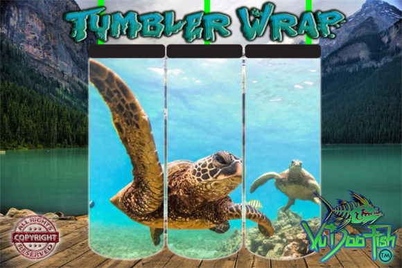 Sea Turtles Tumbler Wrap  Graphic Print Templates By vudoofish
