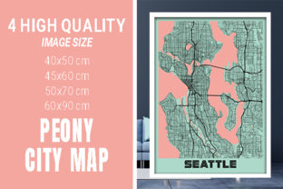Seattle - United States Peony City Map Graphic Photos By pacitymap