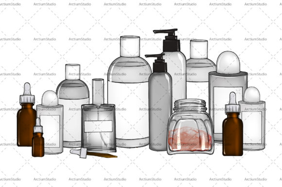 Print on Demand: Set of Jars with Body Care Cosmetics Graphic Objects By arctiumstudio
